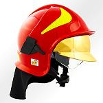 Picture of The polycarbonate of Bayer protects of the high temperatures the face of the firemen