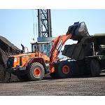 Picture of The new loaders Doosan DL420-3 exhibits in Spain his high provision