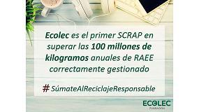 Foto de Ecolec, primer Scrap en superar los 100 millones de kilogramos anuales de RAEE correctamente gestionados