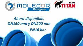 Fotografia de Molecor-Titán amplía su gama y lanza al mercado los caños TOM de PVC Orientado DN160 y DN200 mm