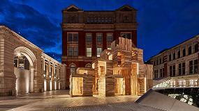 Foto de MultiPly, un pabellón construído con madera de Tulipwood, presente en el Festival de Diseño de Londres