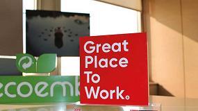 Foto de Ecoembes, reconocida entre las mejores empresas para trabajar en España por sexto año consecutivo