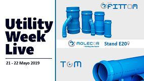 Foto de TOM y ecoFITTOM, de Molecor, presentes en Utility Week Live 2019