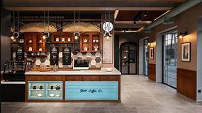 Foto de Hi-Macs en el café State Coffee Co., inspirado en la Nueva York de los años 30