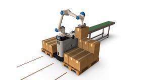 Foto de Un AGV hace posible que un robot paletizador se desplace de manera autónoma
