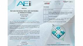 Foto de La AEI Tèxtils organiza un webinar dedicado a la transición verde