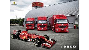Foto de Tres Iveco Stralis Hi-Way, producidos en la planta de Madrid, para el equipo Ferrari de Fórmula 1