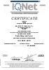 IQ Net Certificate ISO 9001:2015