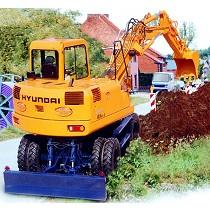 Excavadora sobre ruedas