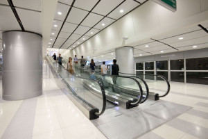 Moving walks installed in one of the stations of Suvarnabhumi Airport Rail Link in Bangkok, Thailand.