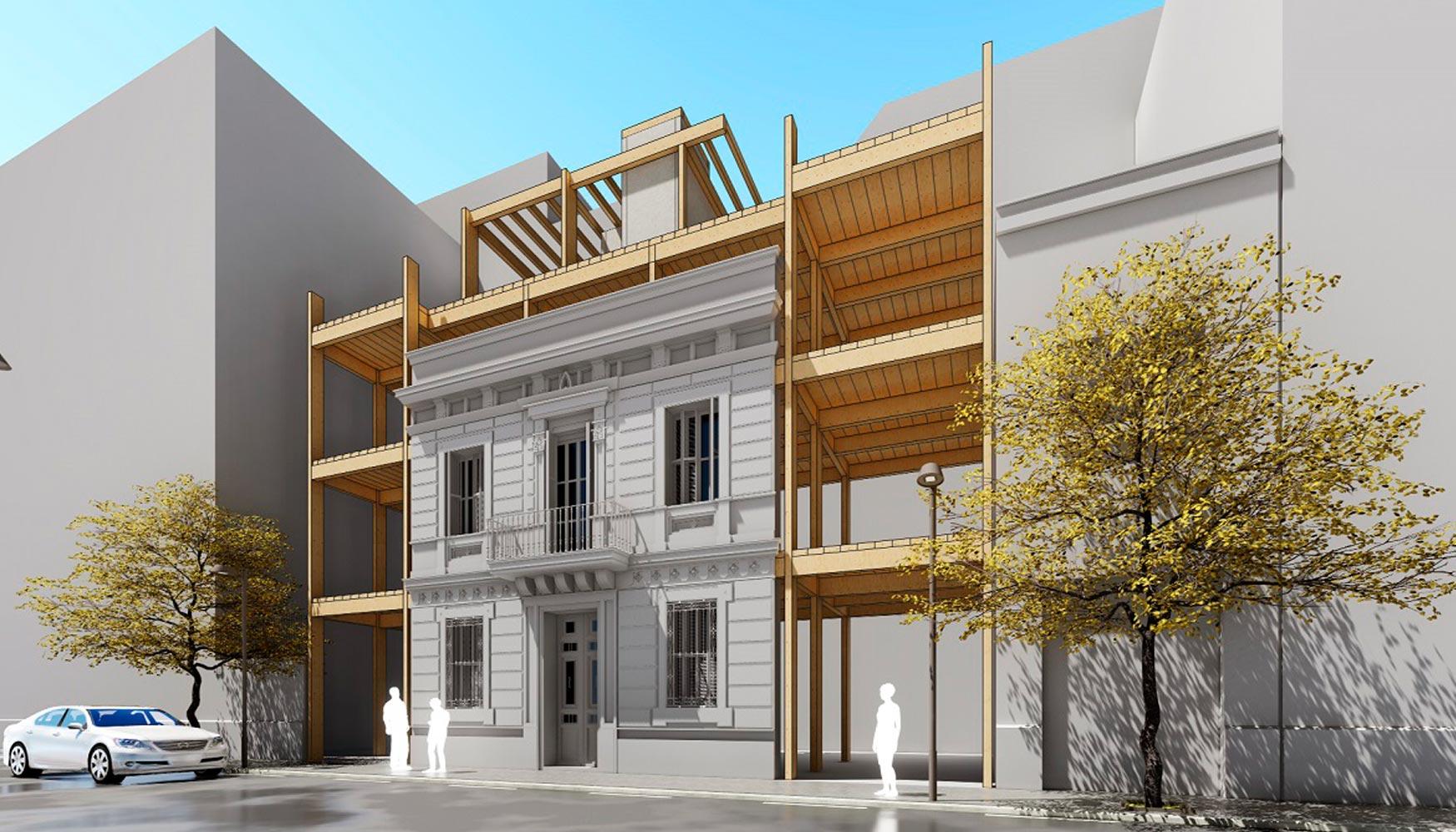 render house habitat edificio de madera en el distrito sants bcn