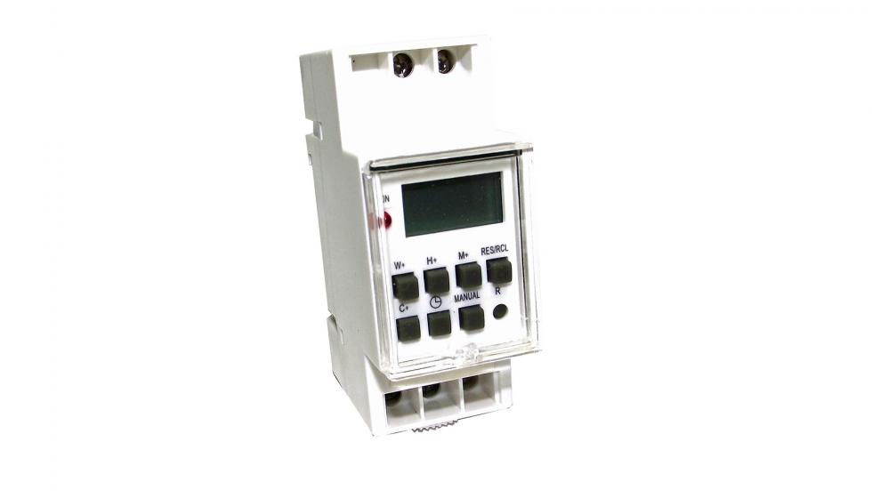 Programador digital carril din hasta 16 a electr nica for Programador electrico digital