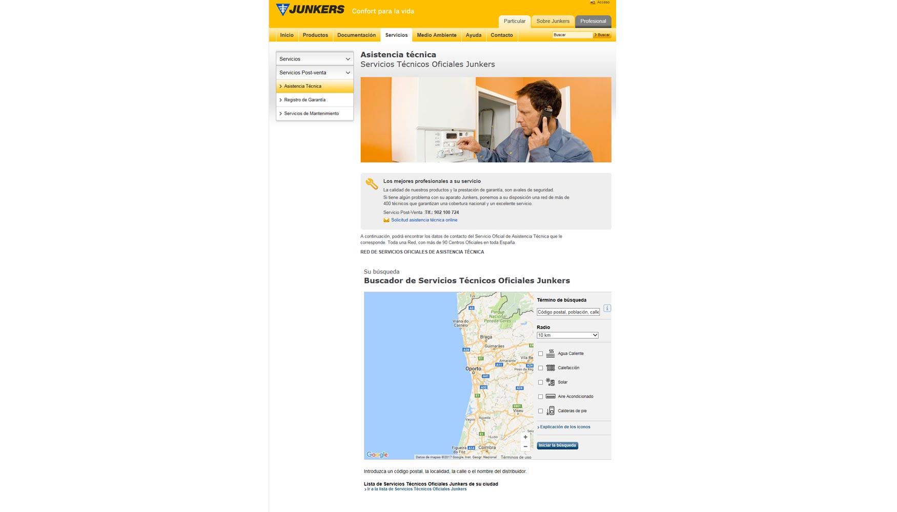 Geolocalizaci n para buscar el servicio t cnico oficial de for Servicio tecnico oficial junkers