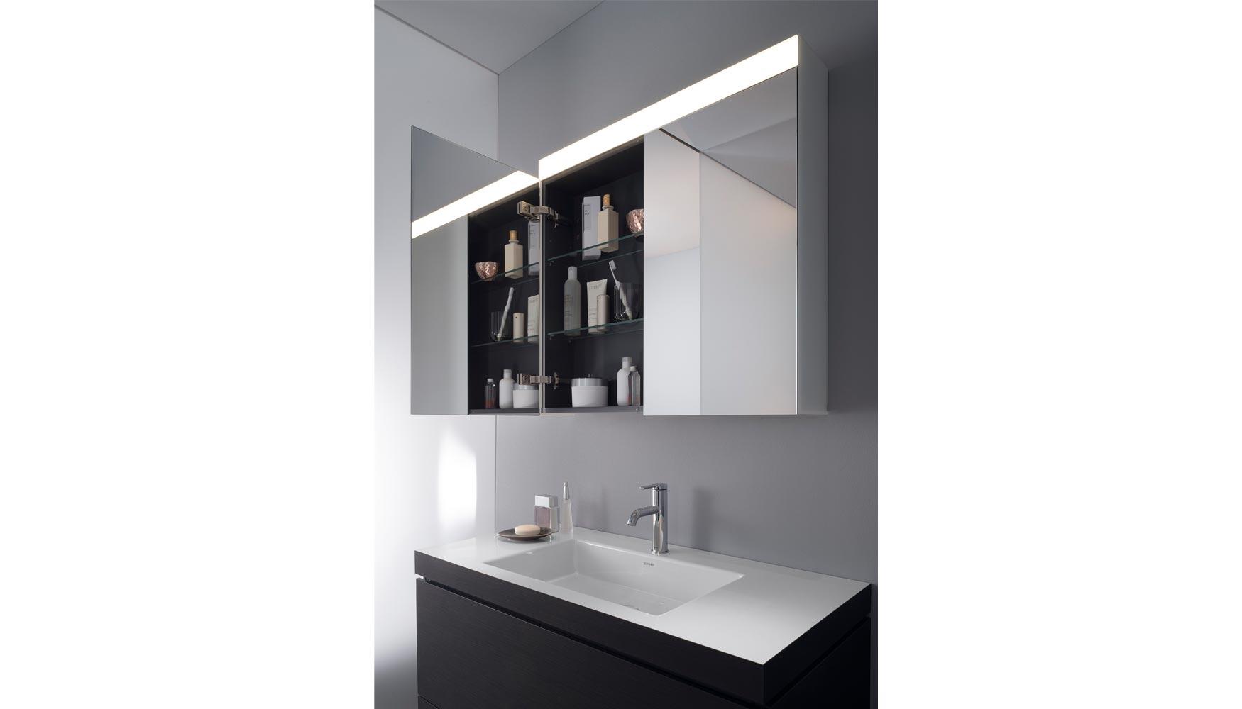 de baos de diseo complement para la ish su programa modular de la serie uespejo y luzu con esta ampliacin de oferta de muebles de espejo