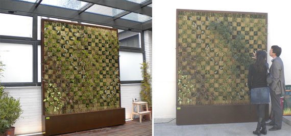 image interior vertical garden left and exterior right