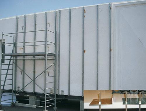 en este caso para los paneles y el ucchasisud vertical se han realizado los paneles con grc una matriz de mortero reforzada con fibra de vidrio que