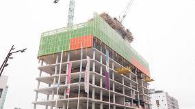 Foto de Uso de la protección perimetral HWS de Ulma en el proyecto de construcción del WTC de Utrecht