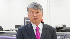 Foto de Sakae Sagane, presidente de Mimaki Europe, se jubila
