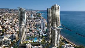 Foto de Un trío de grúas torre Potain construye el complejo residencial Trilogy Limassol Seafront (Chipre)