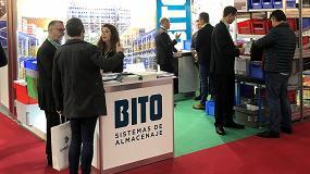 Foto de BITO en Logistics´19 con un nuevo sistema de estanterías multinivel