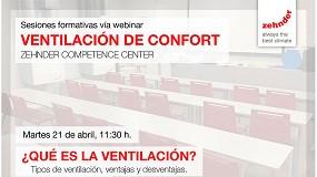 Foto de Zehnder organiza varias sesiones formativas online sobre ventilación y calidad de aire interior