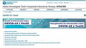 Foto de Intexter (UPC) publica en su web un recopilación sobre 'Textil y COVID-19' que se actualiza a diario