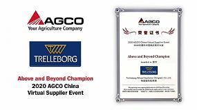 Foto de Trelleborg, premiado en el evento de proveedores virtuales de AGCO China 2020