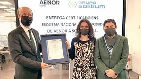 Foto de Aenor entrega a Grupo Solitium el certificado ENS por las medidas de seguridad en sus procesos
