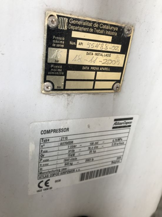 Compresor atlas copco 15 kw free oil de segunda mano