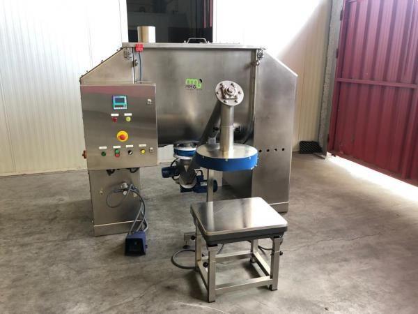 Mezcladora de 500 litros en acero inoxidable 316 con sistema de pesaje para cubos NUEVO
