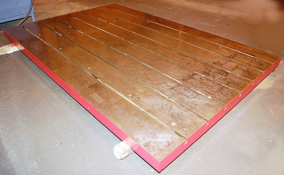 """Mesa de instalación con ranura en T (1) 81 """"x 120"""" x 4.5 """"Acero sólido"""