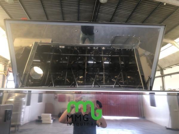 Mezcladora de bandas 1.000 litros en acero inoxidable con sistema de dosificado y pesaje de sacos. N