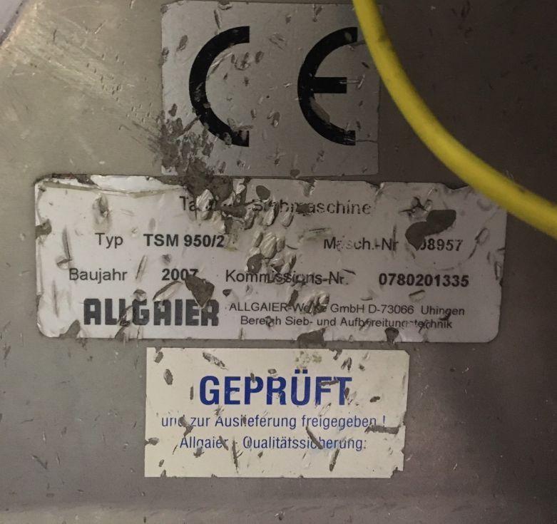Tamizadora vibratoria acero inoxidable allgaier-werke gmbh tsm950-2 de segunda mano
