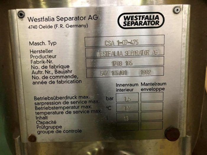 Centrifuiga de platos westfalia csa1-06-475 acero inoxidable de segunda mano