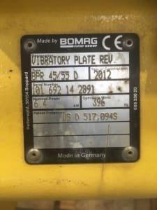 BOMAG BPR45/55D Vibratoy Plate - defect