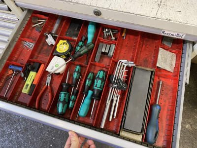 Workshop cabinet with contents