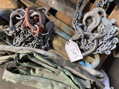 Lot of chain slings + heavy duty belts