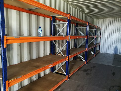 Contenedor maritimo 12 metros con estanterias