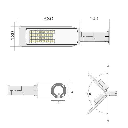 3 Uds Farola LED 50W 5000Lum Blanco Frío IP65 (Nuevas)