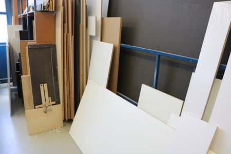 Material rack with contents