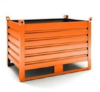 4 x metal containers, corrugated sheet metal, stackable