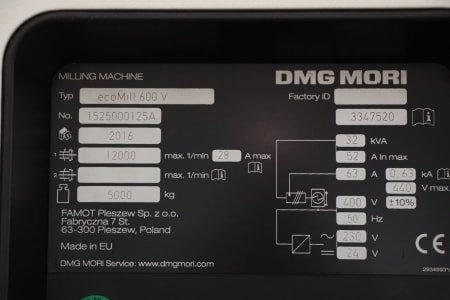 Fresadora universal DMG MORI ECO MILL 600 V