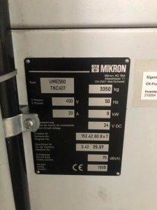 MIKRON UME 560 CNC Tool Milling Machine