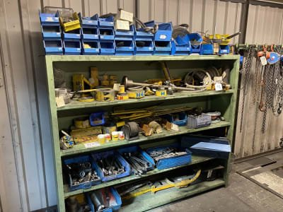 Rack with hand tools and various equipment