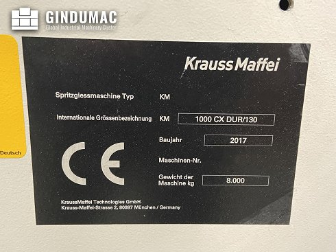 Este Krauss Maffei 130-1000 CX DUR Moldeo por inyección