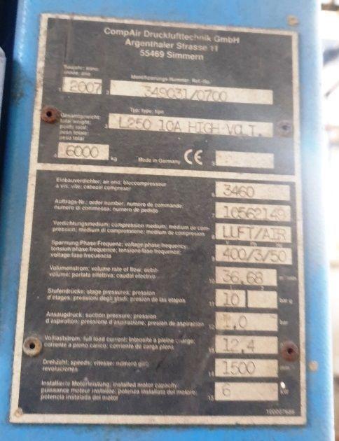 Compresor tornillo 250 kva
