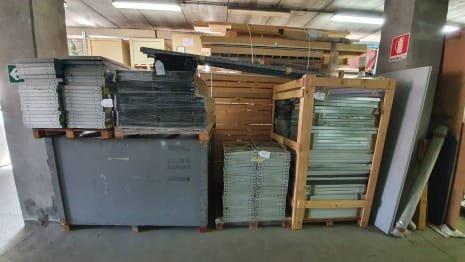 Lot of metal shelves
