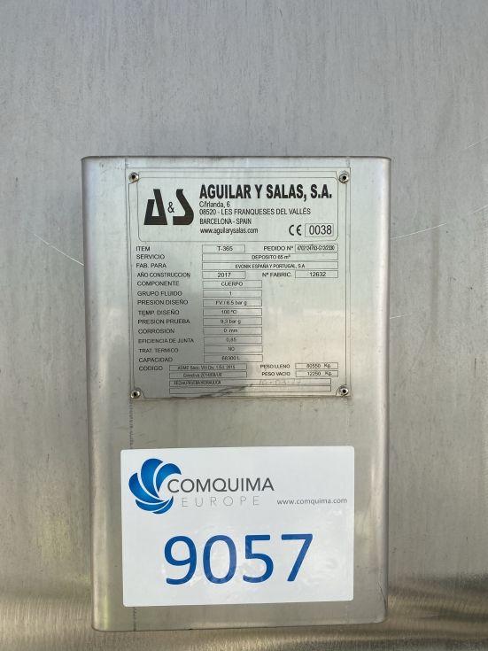 Deposito aguilar y salas acero inoxidable 316l 65.000 litros nuevo sin uso