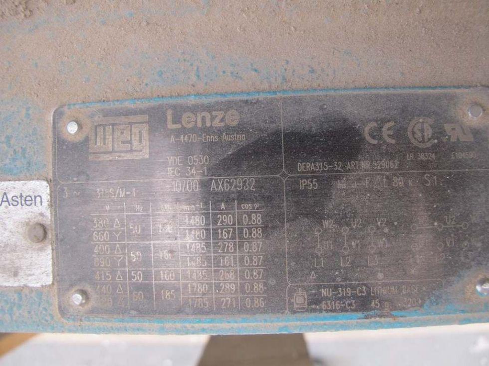 GTE-794 Motor de 380v de 160 kw. Marca MEG Lenze a 1480 r.p.m.