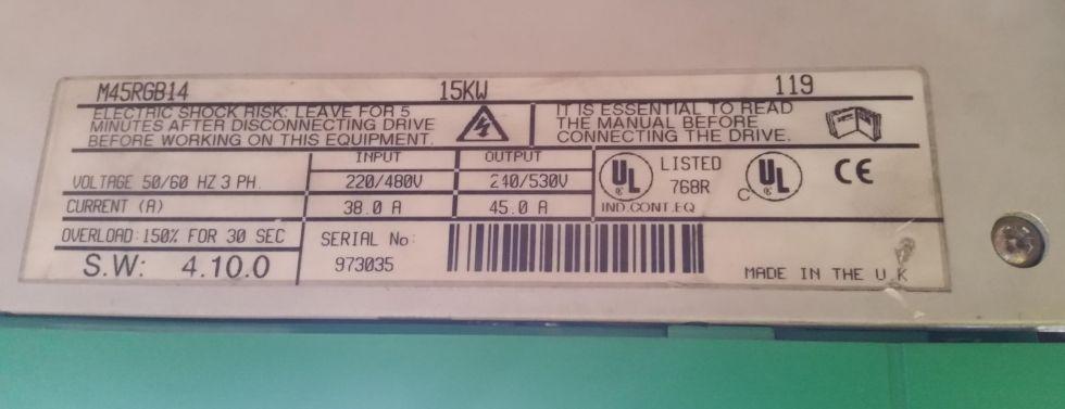 Variador de frecuencia. DC. 15 kW